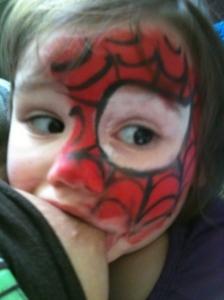 Spiderman nursing at 26 months.