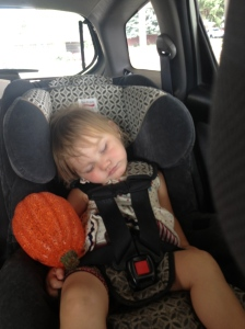 Twig sleeping happily in her newly forward-facing car seat.