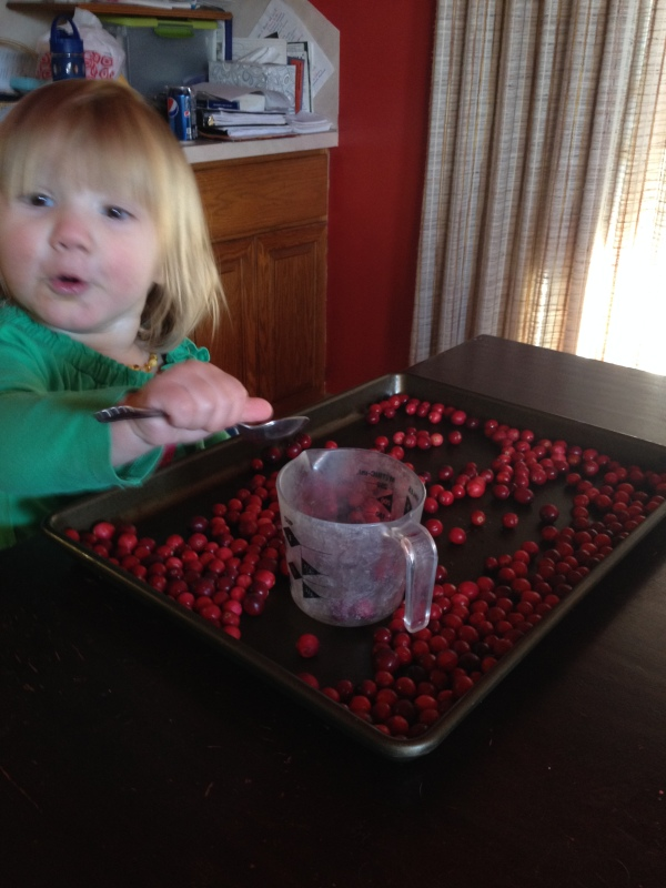 I know this one is blurry, but I love this face! She was so excited about putting them in the cup!